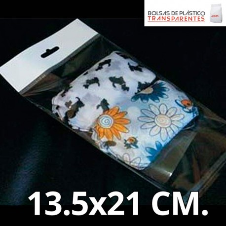 Bolsa de Plástico Transparente Polipropileno Solapa adhesiva y Eurotaladro 12.5x12.5 cm.