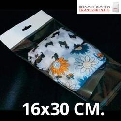 Bolsa de Plástico Transparente Polipropileno Solapa adhesiva y Eurotaladro 16x30 cm.