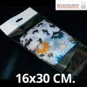 Bolsas de Plastico Transparentes con Solapa adhesiva, Refuerzo y Eurotaladro 16x30 cm.