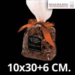 Bolsas de Plastico Polipropileno con Fuelle y Fondo Cuadrado 10x30+6 cm.