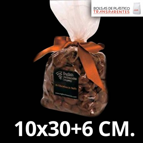 Bolsa de Plástico Transparente Polipropileno con Fondo Cuadrado 10x30+6 cm.