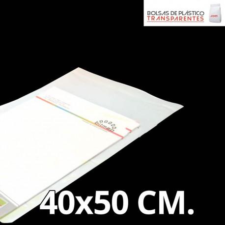 Bolsa de Plástico Transparente Polipropileno Cpp y Solapa Adhesiva 35x45 cm.