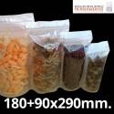 Bolsa de Plástico Transparente Polipropileno Cpp y Base 180+90x290 mm.