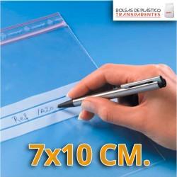 Bolsa de Plástico Transparente Polietileno Cierre Zip y Banda de Escritura  6x8 cm