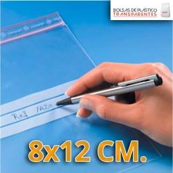 Bolsas de Plastico Transparentes Polietileno Autocierre y Banda de Escritura  8x12 cm