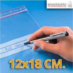 Bolsas de Plastico Transparentes Polietileno Autocierre y Banda de Escritura  12x18 cm