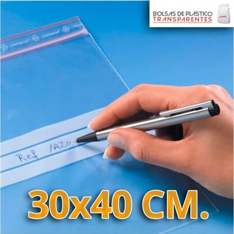 Bolsa de Plástico Transparente Polietileno Cierre Zip y Banda de Escritura  30x40 cm