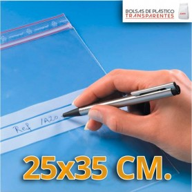 Bolsa de Plástico Transparente Polietileno Cierre Zip y Banda de Escritura  25x35 cm