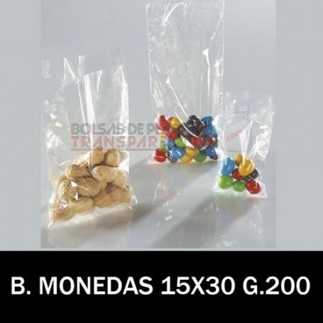 Bolsas de Plastico (Moneda) Transparentes Polietileno 15x30 cm.
