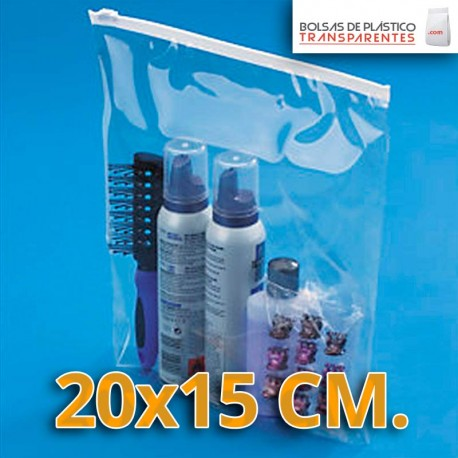 Bolsa de Plástico Transparente Polietileno Cierre Cursor 20x15 cm.