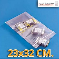 Bolsa de Plástico Transparente Polietileno Cierre Zip 23x32 cm.
