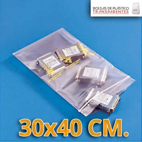 Bolsa de Plástico Transparente Polietileno Cierre Zip 30x40 cm.