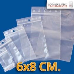 Bolsas de Plastico Transparentes Autocierre y Taladro Circular  6x8 cm.
