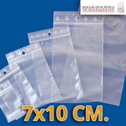Bolsa de Plástico Transparente Polietileno Cierre Zip y taladro  6x8 cm.