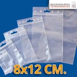 Bolsa de Plástico Transparente Polietileno Cierre Zip y taladro  8x12 cm.