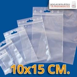Bolsa de Plástico Transparente Polietileno Cierre Zip y Euro Taladro  10x15 cm.