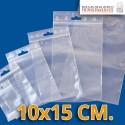 Bolsa de Plástico Transparente Polietileno Cierre Zip y Euro Taladro  8x12 cm.