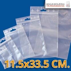 Bolsa de Plástico Transparente Polietileno Cierre Zip y Euro Taladro  11.5x33.5 cm.
