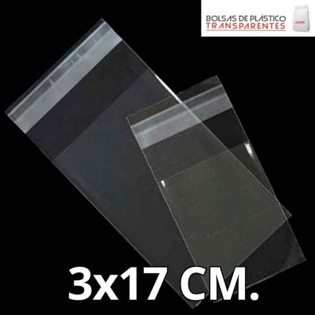 Bolsa de Plástico Transparente Polietileno Cierre Zip y taladro  3x17 cm.