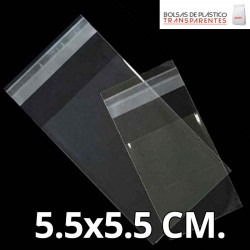 Bolsa de Plástico Transparente Polipropileno Solapa adhesiva  5.5x5.5 cm.