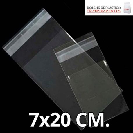 Bolsa de Plástico Transparente Polipropileno Solapa adhesiva  7x20 cm.