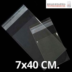 Bolsas de Plastico Transparente Polipropileno Solapa adhesiva  7x40 cm.