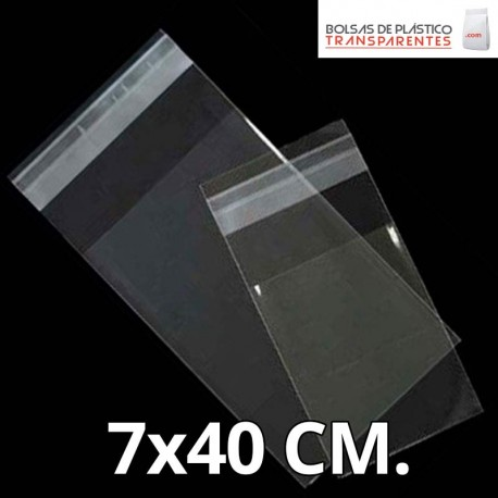Bolsa de Plástico Transparente Polipropileno Solapa adhesiva  7x40 cm.
