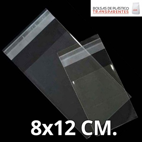 Bolsa de Plástico Transparente Polipropileno Solapa adhesiva  8x12 cm.