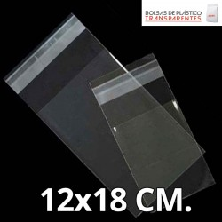 Bolsa de Plástico Transparente Polipropileno Solapa adhesiva  12x18 cm.