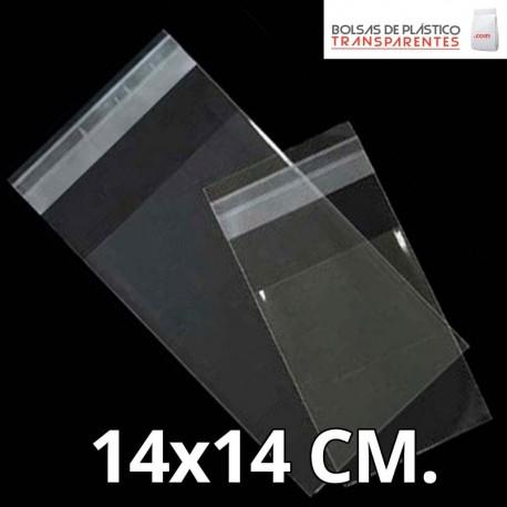 Bolsa de Plástico Transparente Polipropileno Solapa adhesiva  14x14 cm.