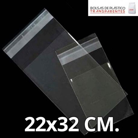 Bolsa de Plástico Transparente Polipropileno Solapa adhesiva  22x32 cm.