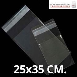 Bolsa de Plástico Transparente Polipropileno Solapa adhesiva  25x32 cm.