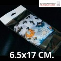 Bolsa de Plástico Transparente Polipropileno Solapa adhesiva  6.5x17 cm.