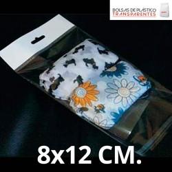 Bolsas de Plastico Transparentes con Solapa adhesiva, Refuerzo y Eurotaladro 8x12 cm.