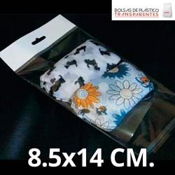 Bolsas de Plastico Transparentes con Solapa adhesiva, Refuerzo y Eurotaladro 8.5x14 cm.