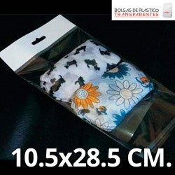 Bolsa de Plástico Transparente Polipropileno Solapa adhesiva y Eurotaladro 10.5x28.5 cm.